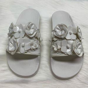 Tory Burch Blossom Slides White Glossy Sandals 7M